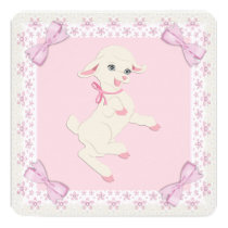Pink Lamb Baby Shower Card