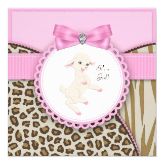 "Pink Lamb Baby Shower 5.25"" Square Invitation Card"