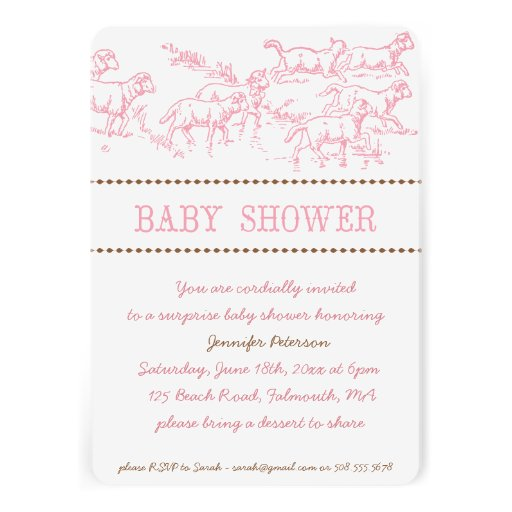 pink lamb baby shower invitation baby girl 5 x 7 invitation car