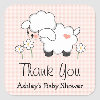 Pink Lamb Baby Shower Labels Stickers