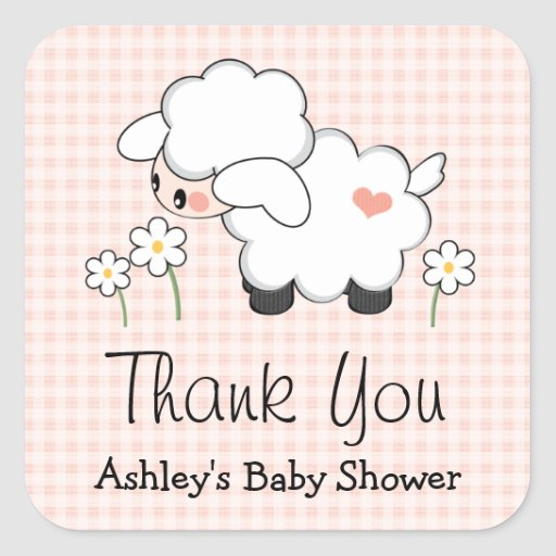 pink lamb baby shower labels stickers zazzle