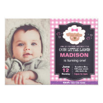 Pink Lamb Birthday Invitation with Photo