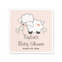 Pink Lamb Girl Baby Shower Paper Napkin