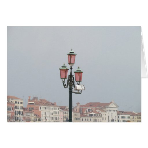 Pink Lamp Posts in Venice, Italy Card