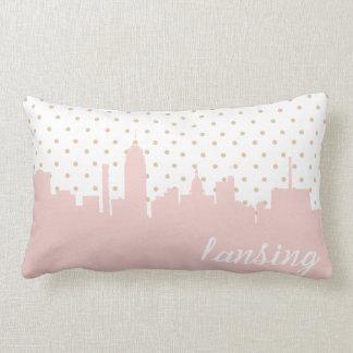 pink Lansing, MI city skyline Pillow