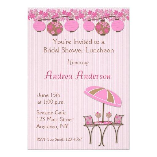 Pink Lantern Luncheon Shower Invitation