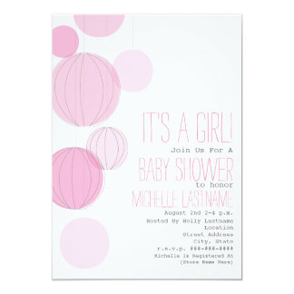 Pink Lanterns Baby Shower 5x7 Paper Invitation Card