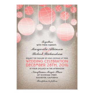 pink lanterns elegant burlap wedding invitation
