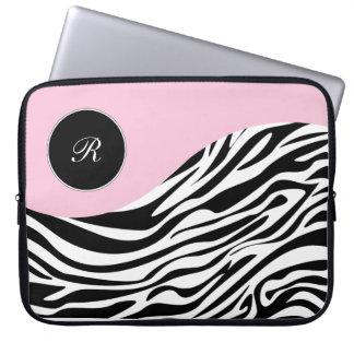 Pink Laptop Monogram Zebra Sleeves Computer Sleeve