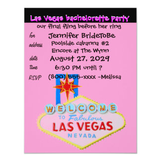Pink Las Vegas Bachelorette Party Card
