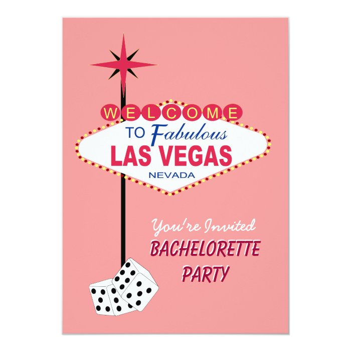 Pink Las Vegas Bachelorette Party Invitation