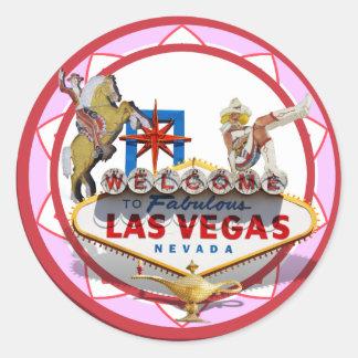 Pink Las Vegas Poker Chip Classic Round Sticker