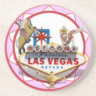 Pink Las Vegas Poker Chip Drink Coaster