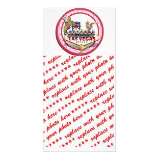 Pink Las Vegas Poker Chip Photo Card