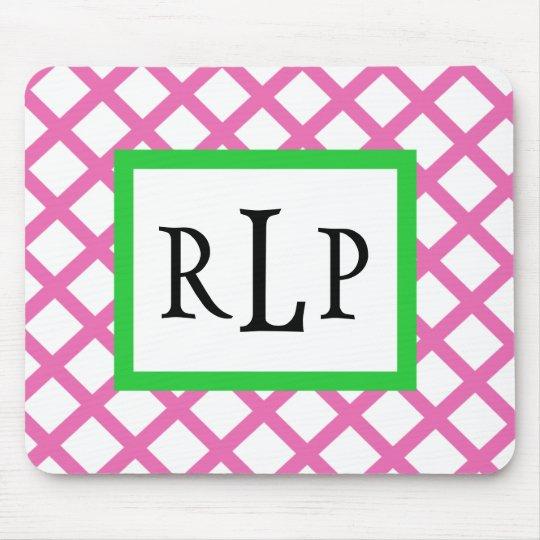 Pink Lattice Mousepad Monogrammed