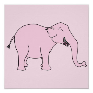 Pink Laughing Elephant. Posters