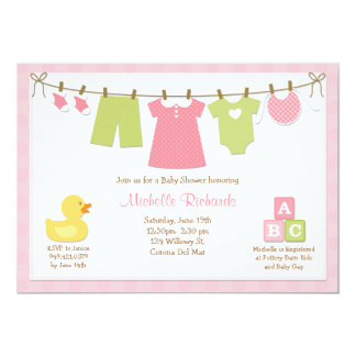 "Pink Laundry Baby Shower Invitation 5"" X 7"" Invitation Card"