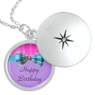 Pink,Lavender,Blue Plaid Pop Birthday Locket Necklace