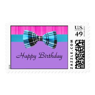 Pink,Lavender,Blue Plaid Pop Birthday Postage