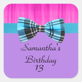 Pink,Lavender,Blue Plaid Pop Birthday Stickers
