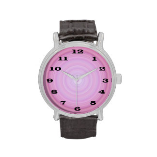 Pink Lavender Bullseye with Bold black numbers Wristwatches