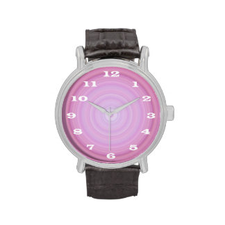 Pink Lavender Bullseye with Bold white numbers Watches