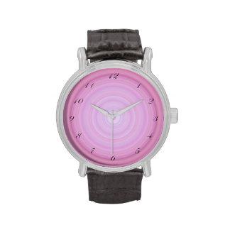 Pink Lavender Bullseye with script black numbers Watch