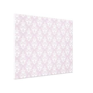 Pink Lavender Damask Pattern Stretched Canvas Print
