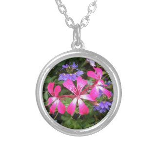 Pink & Lavender Flowers Silver Round Necklace