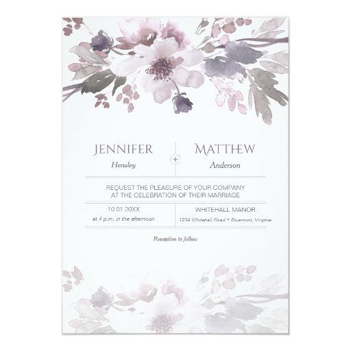Pink Lavender Gray Watercolor Blossoms Wedding