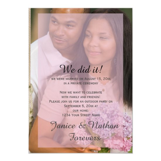 Pink Lavender Overlay Photo Reception Only Invite