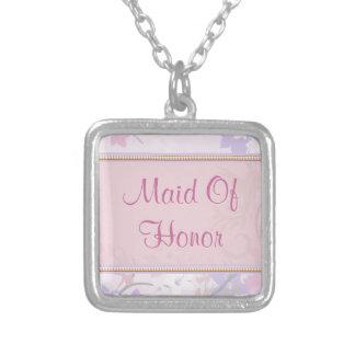 Pink & Lavender Pastel Floral Flowers Favor Silver Plated Necklace