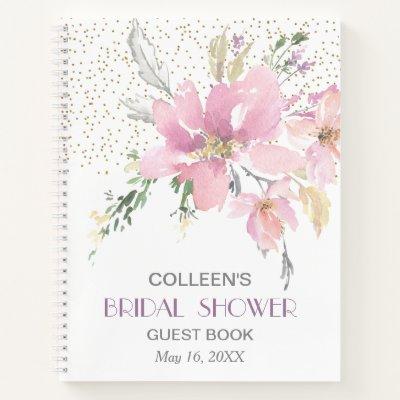 Pink Lavender Watercolor Floral Shower Guest Notebook