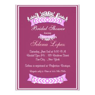 Pink Lavender White Bridal Shower Invitations