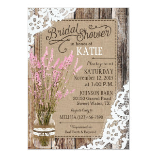 Pink Lavender Wood Lace Rustic Bridal Shower Card