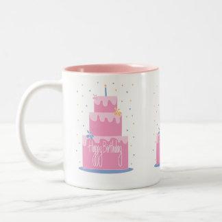 Pink Layered Birthday Cake Mug