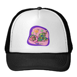 Pink laying clown with balloons trucker hat