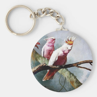 Pink Leadbeater Parrot birds painting Key Chains
