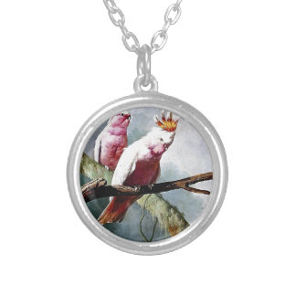 Pink Leadbeater Parrot birds painting Necklaces