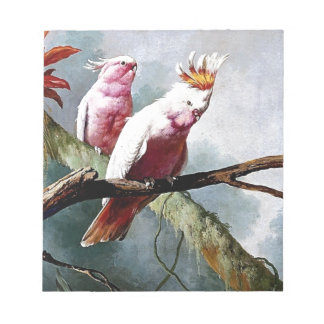 Pink Leadbeater Parrot birds painting Scratch Pad