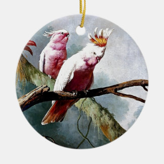 Pink Leadbeater Parrot birds painting Christmas Tree Ornaments