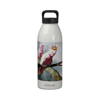 Pink Leadbeater Parrot birds painting Reusable Water Bottle