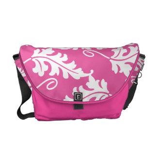 Pink Leaf Bold Botanical Nature Pattern Courier Bag