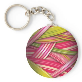 Pink Leaf Flowing Ribbons zazzle_keychain