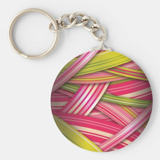 Pink Leaf Flowing Ribbons Keychain