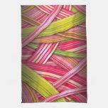 Pink Leaf Flowing Ribbons Kitchen Towels