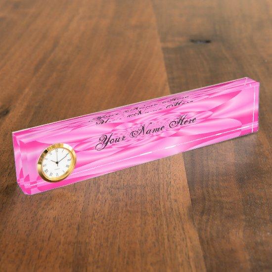 Pink Leaf Petal Desk Name Plate