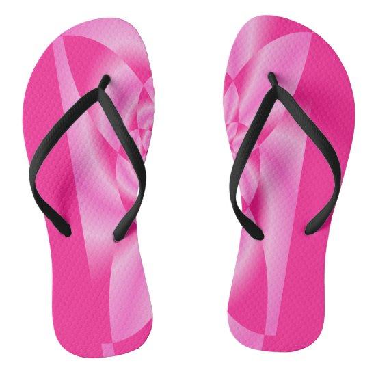 Pink Leaf Petal Flip Flops