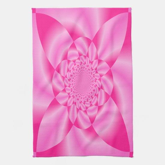 Pink Leaf Petal Kitchen Towel