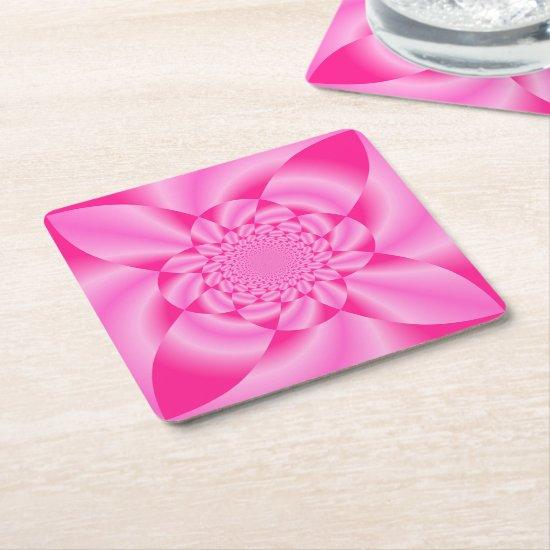 Pink Leaf Petal Square Paper Coaster
